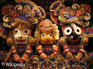 Les idoles de Balabhadra, Subhadra et Jagannatha